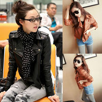2014 Women New  Zipper Motorbike PU Leather Jacket Chic Asymmetric Brand Short Design Slim Blazer Fit Overcoat For Females nz82