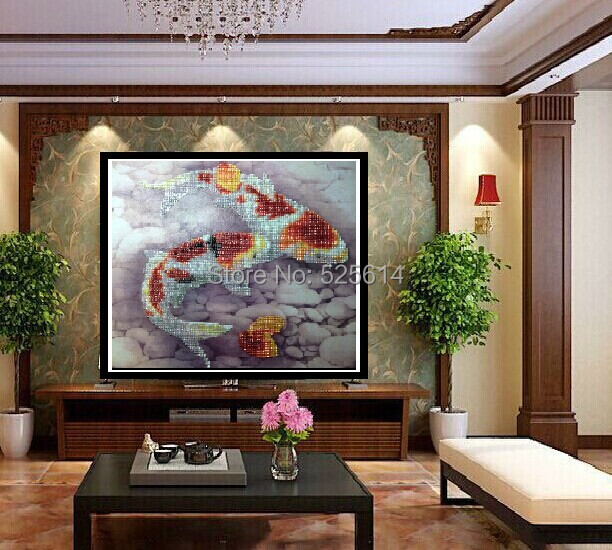 New pearl 45 60cm two fish home decor diy pearl for Fisherman home decor