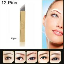 50 PCS PCD 12 pin  Permanent Makeup Manual Eyebrow Tattoo Bevel Blades 12 Needles(China (Mainland))