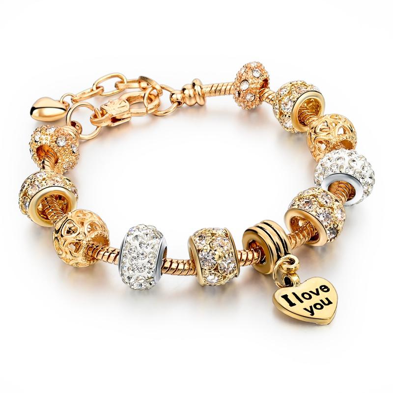 christmas gift gold heart charm bracelets bangles fit