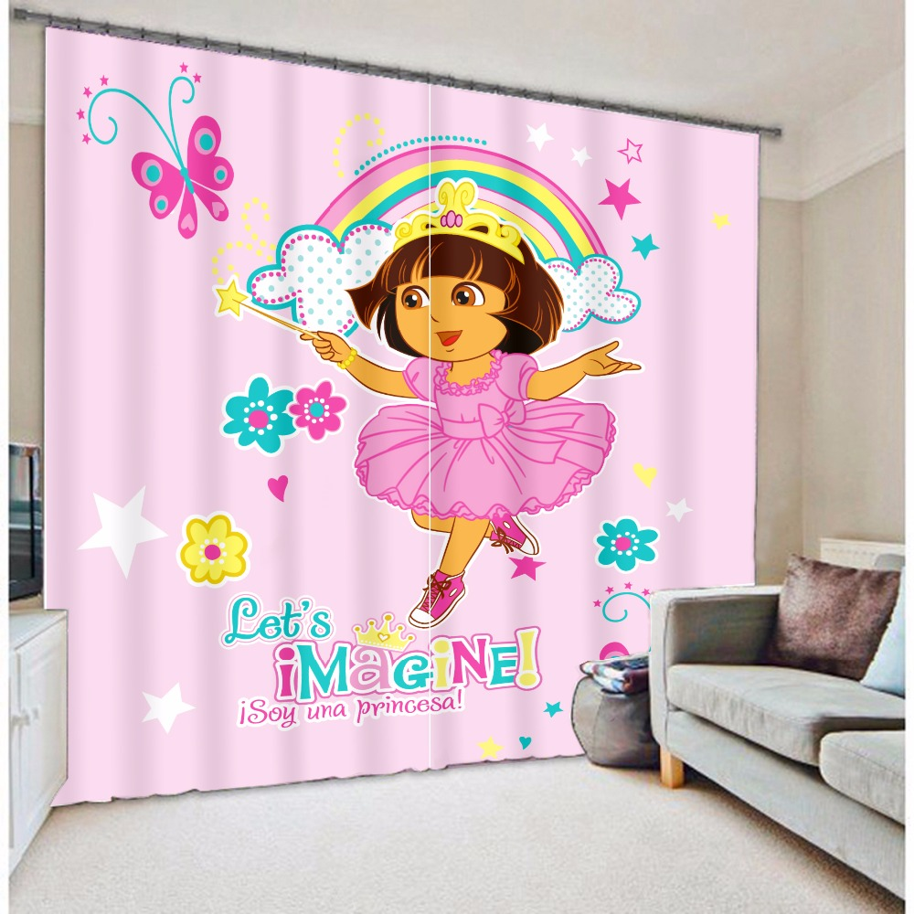 Pink dora with rainbow butterfly cartoon design kids 3d digital printing curtains for the living room(China (Mainland))