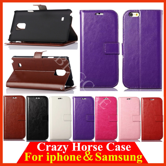 For iphone 6 Plus 4 4S 5 5S for Samsung galaxy S6 S5 S4 S3 Note 4 3 2 Crazy Horse Flip wallet Leather Card Slot Case cover 30pcs