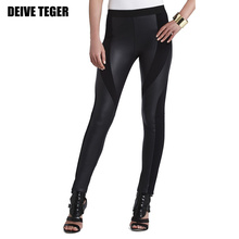 Free Shipping 2015 New Arrived leather pants lady Bandage patchwork skinny pants black Slim women pants  HL1416(China (Mainland))