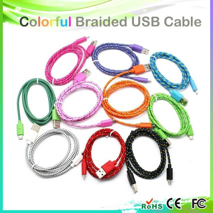 Free shipping !! Colorful New 1M Fabric Nylon Braided Micro USB Cable for Samsung For Blackberry for HTC Cloth braided cable