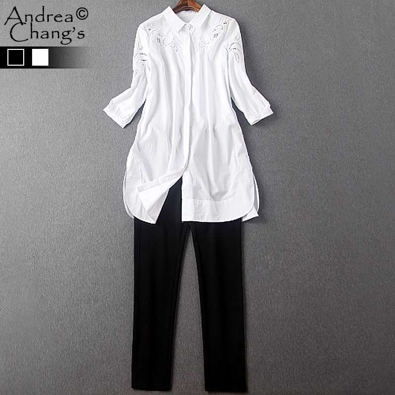 spring summer runway designer womens clothing set black white cotton shirt hollow out embroidery black white capris brand setОдежда и ак�е��уары<br><br><br>Aliexpress