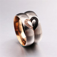 316 Stainless Steel Love Heart Couple Rings for Women Men Wedding Engagement CZ Ring Unique Fine jewelry