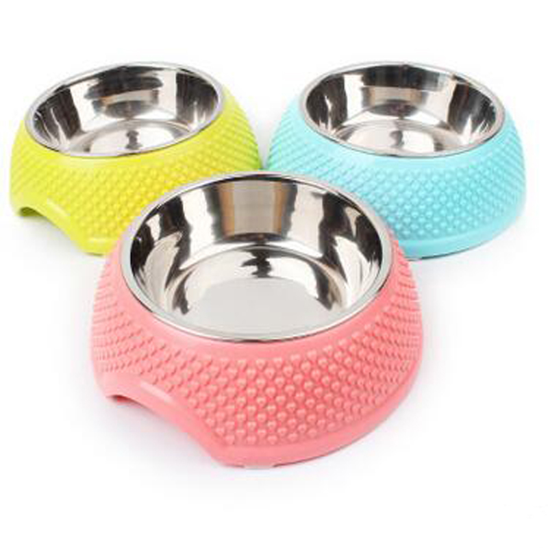 Monochromatic stainless steel dog bowl rubber non-slip 15-30 cm dog small dog cat pet Bowl pet food bowls(China (Mainland))