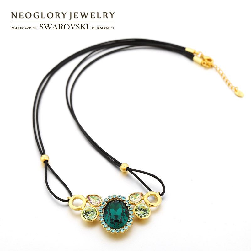 Neoglory Austria Crystal & Rhinestone Pendant Necklace Gorgeous Green Oval Design Alloy Gold Plated Black Rope For Trendy Gift(China (Mainland))