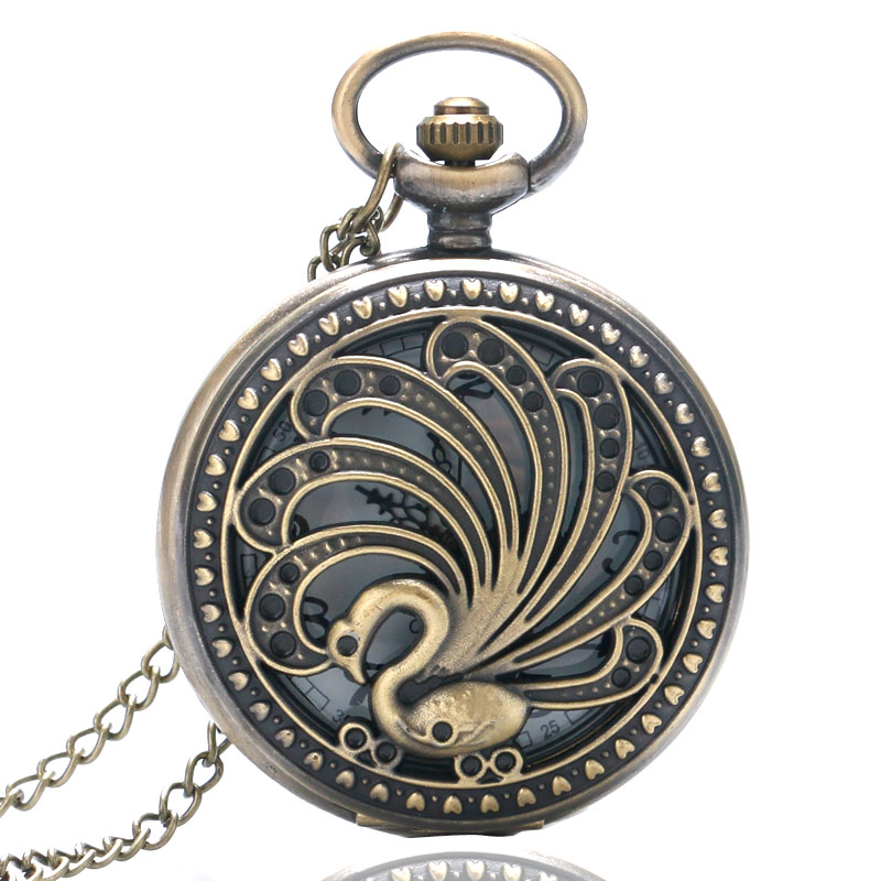 Elegant Hollow Bronze Peacock Theme Quartz Pocket Watch Luxury Women's Fob Watches with Necklace Chain for Ladies Girls(China (Mainland))