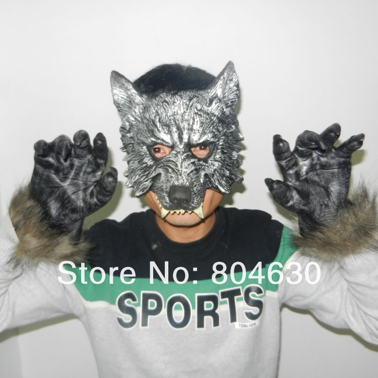 Scary Wolf Costume Pu Mask & Claw Set Halloween Party Masks latex Animal carnival prop supper Horror - Caly Tao's store