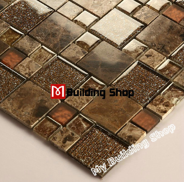 brown glass mosaic wall tiles backsplash glass tile