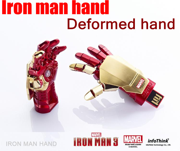 Iron Man hand usb flash drive 2GB 4GB 8GB 16GB 32GB USB Stick LED flash usb memory pen drive 1pcs/lot(China (Mainland))