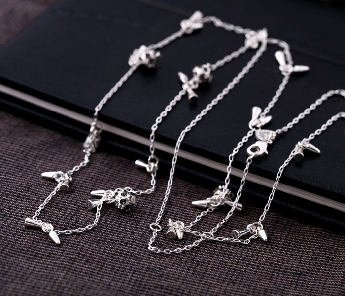 2015 free shipping Fashionable woman rivet crystal ball chain necklace sweater new trend(China (Mainland))