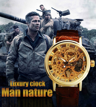 Luxury Clock Male Men Wristwatch Classic Skeleton mechanical Watch Relogio 2 Side Transparent Retro Thin Case