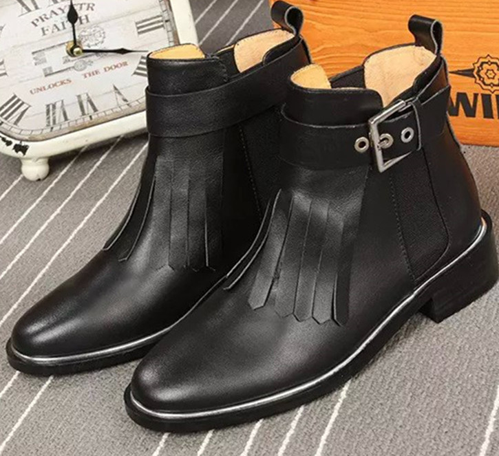 Hot Booty Euro Fringle Tassel Ankle Buckles Fashion Black Women Boots Square Heels Women Flats Style Martin Boots Shoes Woman