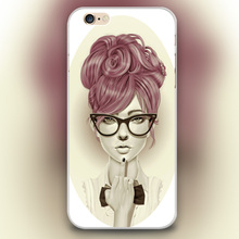 Fashion girl middle finger Design black skin case cover cell mobile phone cases for iphone 4 4s 5 5c 5s 6 6s 6plus hard shell