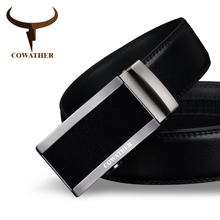 COWATHER 2017 top quality cow genuine fashion leather men belts for men automatic buckle strap cinto masculino free shipping(China (Mainland))