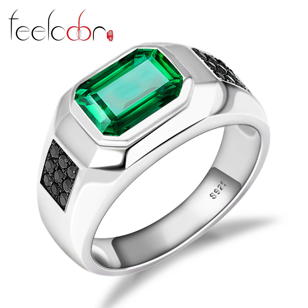 Nano Russian Emerald Engagement Wedding Ring 925 Solid Sterling Silver 2015 New Mens Jewelry<br><br>Aliexpress