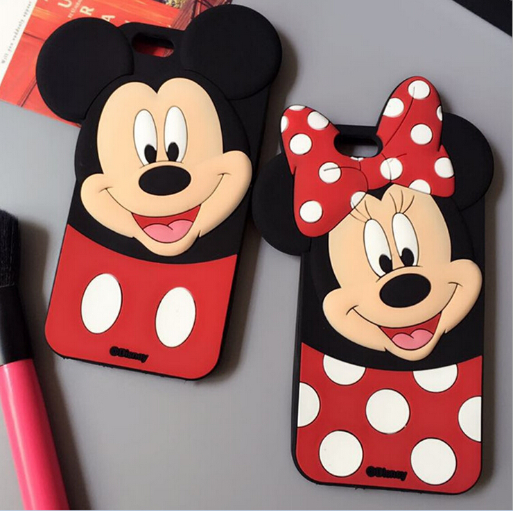 2016 New Fashion 3D Cartoon Phone Cases Minnie Mickey Mouse Covers For iPhone 5 5S SE 6 6S 6Plus Silicone Capas Free Shipping(China (Mainland))
