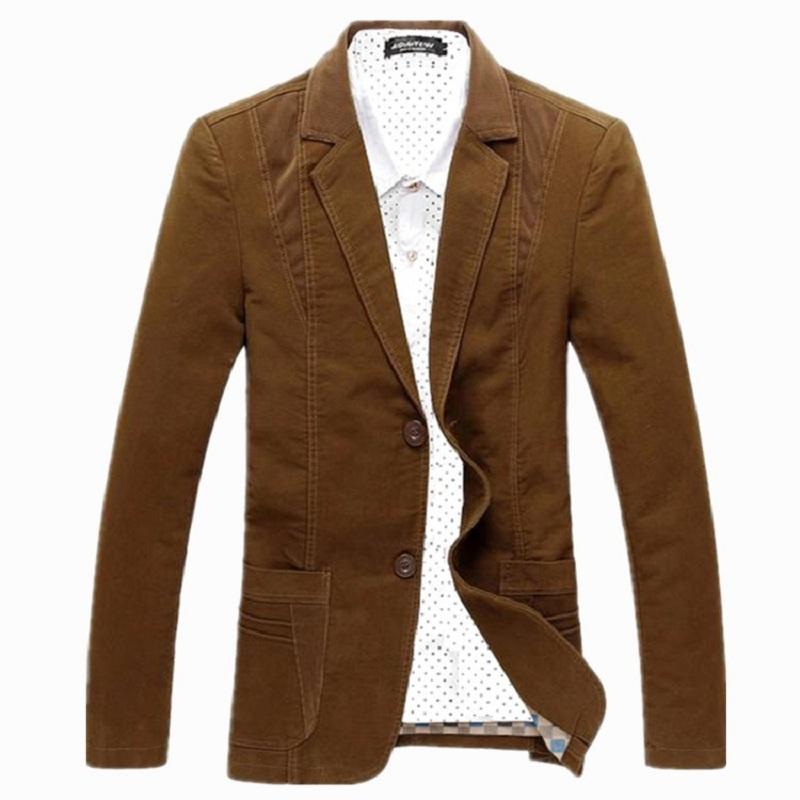 M-8XL New Slim Fit Casual jacket Cotton Men Blazer Jacket Single Button Gray Mens Suit Jacket 2016 Patchwork Coat Male Suite(China (Mainland))