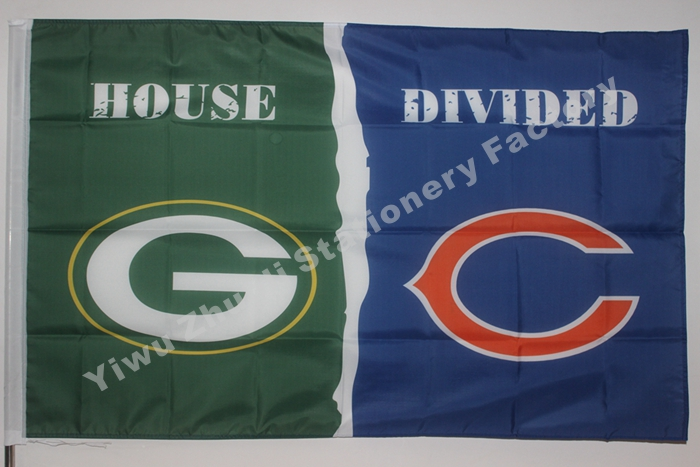 Green Bay Packers With Chicago Bears USA House Divided NF* Premium Team Football Flag 3X5FT HDGBPCB01(China (Mainland))