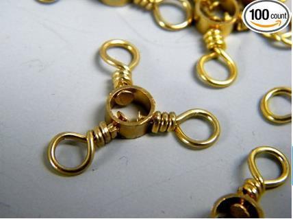 100Pcs #6 3 Bronze Gold Way Swivels Red Brass Fishing Barrel Triple Swivels Snap Connector Fishing Tackle(China (Mainland))