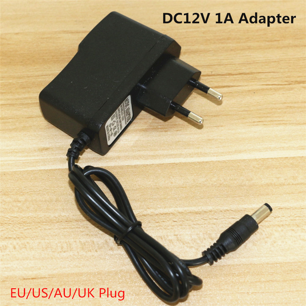 Free Shipping 12V 1A Power Supply AC100-240V to DC12V Converter Adapter Charger Socket For LED Strip light With EU/US/AU/UK Plug(China (Mainland))