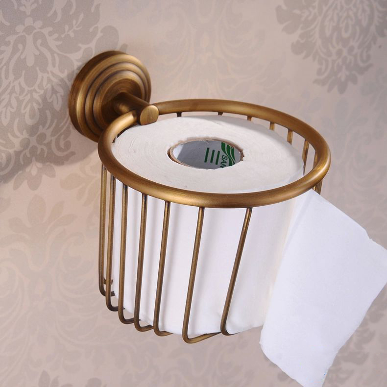 Wall mounted antique brass finish bathroom accessories for Vintage bathroom accessories