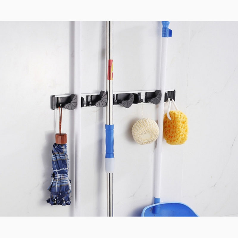 Fantasy Multi Functional Magic Bathroom Mop Rack Cleaning Tools Hanger With Hooks Wall Mounted
