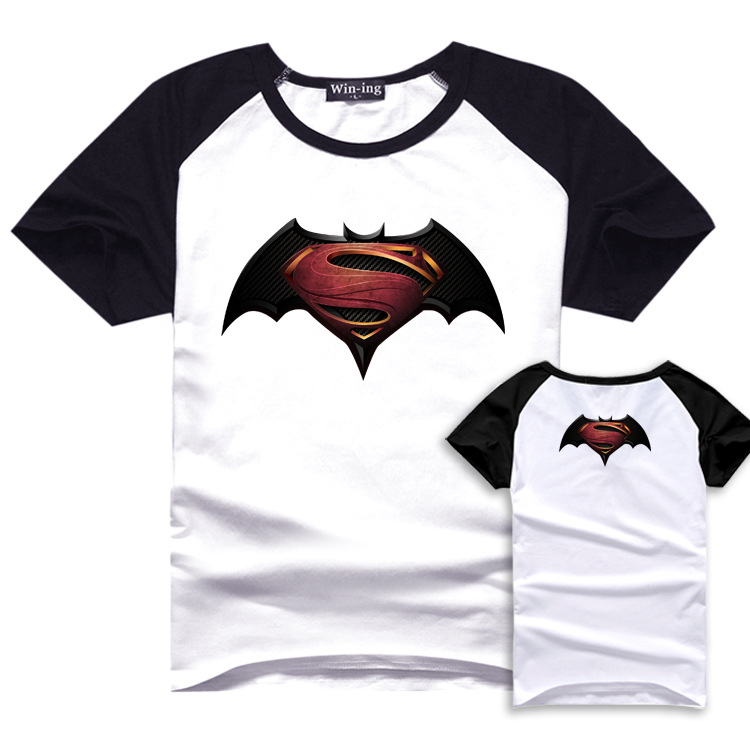 Movie BVS Print Casual T shirt Batman Summer Cotton T shirts Superman Short Sleeve Homme Loose