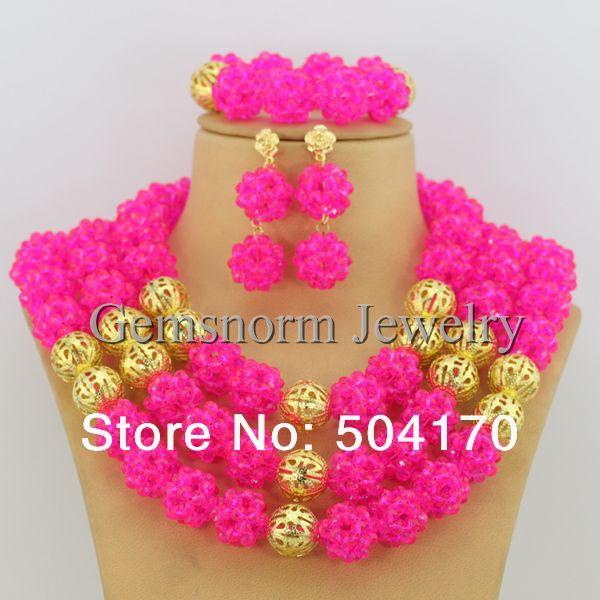 Brilliant Fushia Pink Wedding Bridal Jewelry Set African Costume Jewelry Set for Women Free Shipping GS061<br><br>Aliexpress