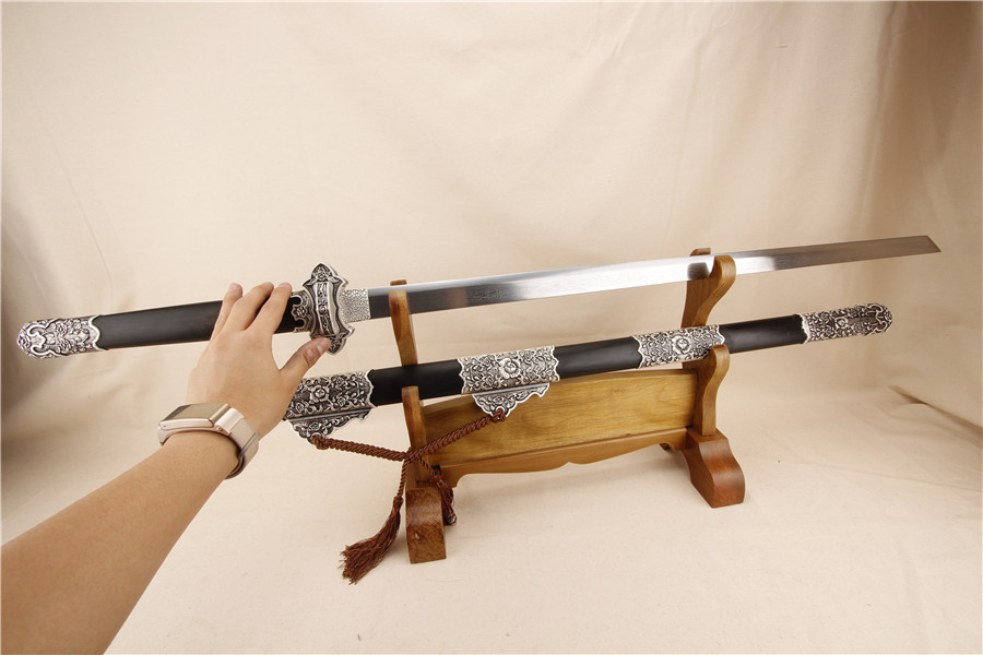 Chinese sword handmade alloy full tang fittings China swords folding steel antique collection black katana(China (Mainland))