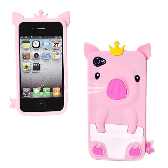 3D Cute Fun Crown Pig Rubber Silicone Skin Cover Case iPhone 4 4S Pink - Zoe store