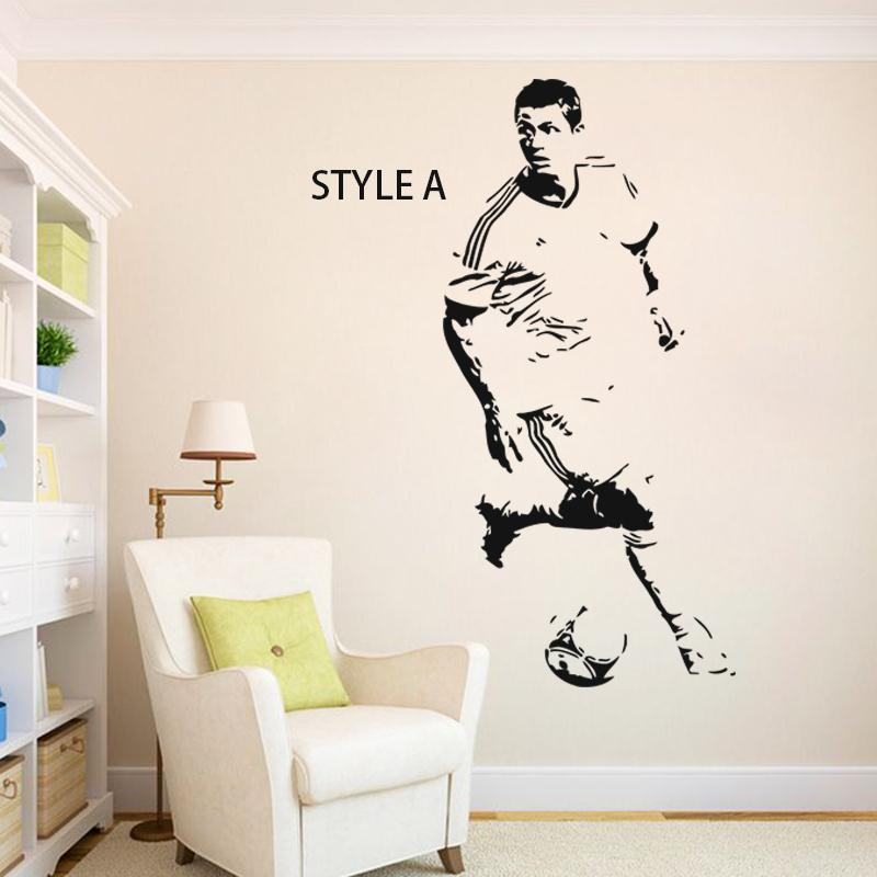 Art Design home decoration cheap Vinyl soccer star Cristiano Ronaldo Wall Sticker removable house decor football player decals(China (Mainland))
