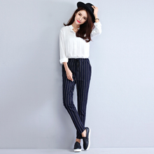 Plus Size Casual Women Harem Pants Slim Striped Loose With Shaft Pant Dark Blue 8011