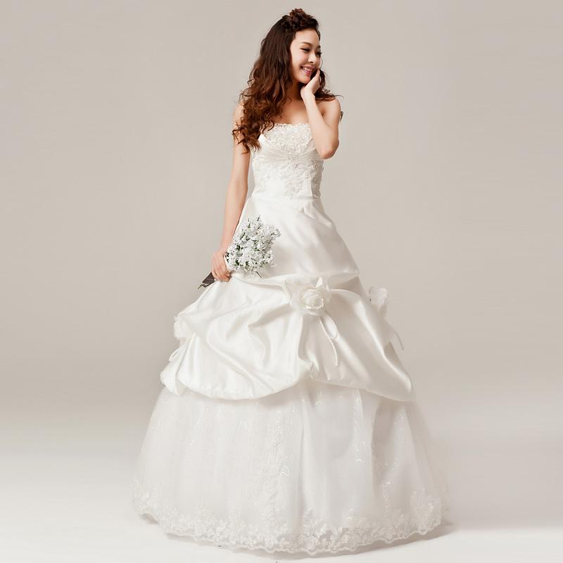Sweet princess tube top rhinestone wedding dress bride bandage(China (Mainland))