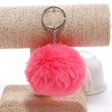 Simples chaveiro bola De Pêlo Pompom Pompom Chaveiro Saco Chaveiro Carro Coelho Artificial Peles De Animais Chaveiros Para Mulher 14 cores(China)