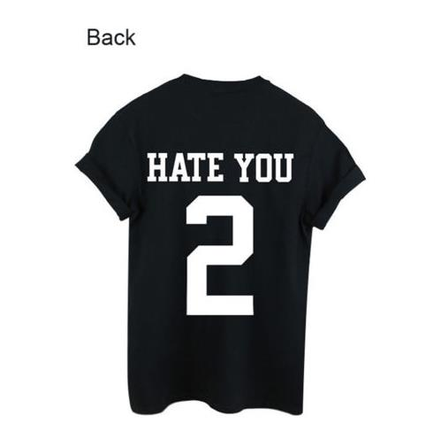 Simple Design Tee Women Men Unisex Personality HATE YOU 2 Printing Cotta Tops Black