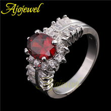 Clear Red Oval Cubic Zirconia Engagement Rings Ruby Top Quality Simulated Diamond Wedding Jewelry For Women
