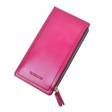 Fashion Ultra Large Capacity Double Zippers Women Wallets Purses Ultra Thin Leather Wallet Purses Lady Clutch