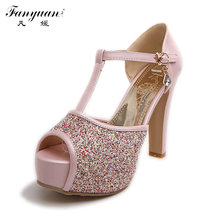 2016 Big Discount Female Sexy Peep Toe Buckle Strap Summer Pumps Girls High Heel Glitter Shoes Women Wedding sandles Big size(China (Mainland))