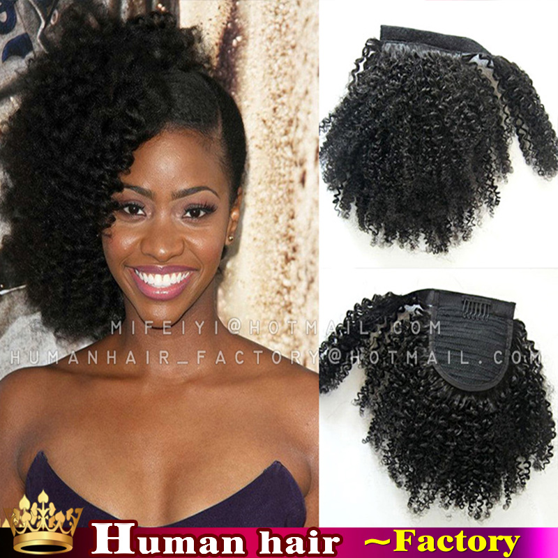 African American Human Hair Ponytail Extensions Remy Indian Hair