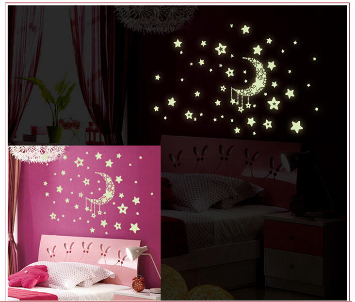 Buy keythemelife glow wall sticker girl stars fluorescent for Good home decor stores