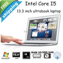 Free shipping Very Slim 13.3 inch Ultrabook SSD 64G RAM 2G Intel Core i5 Processor Windows 7 Laptop 8000mAh Battery Bluetooth