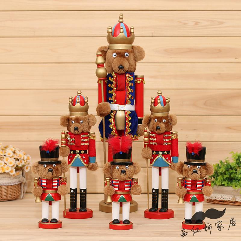 Teddy bear christmas ornaments Wood Nutcracker For New Year Decoration Christmas Decor Supplies Wooden Nutcracker Soldiers Doll(China (Mainland))