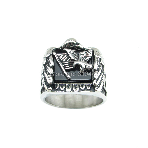 ! 316L Stainless Steel Biker Eagle Star American Flags Heavy Metal Punk Ring Jewelry - C&T Store store