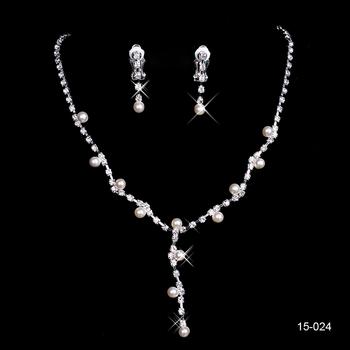 Посеребрение жемчуг и горный хрусталь свадебные ожерелье и серьги ювелирные изделия ...
