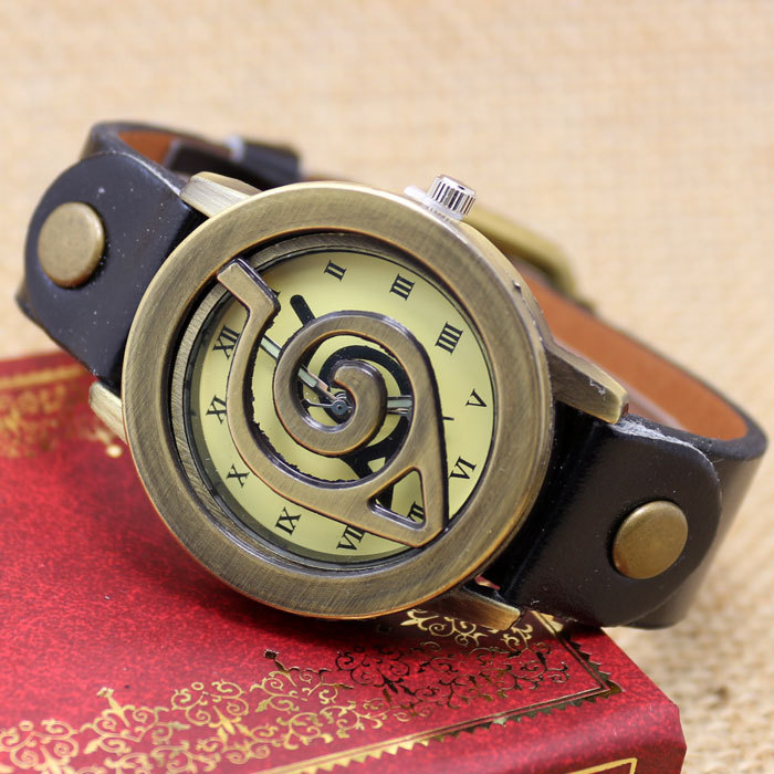 2015 New Fashion Skull Black Leather Band Anqique Men Watch B2411 7