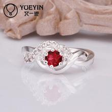 2015 wholesale 925 Silver ruby wedding Austrian Crystal CZ Simulated Diamonds ring new design for lady