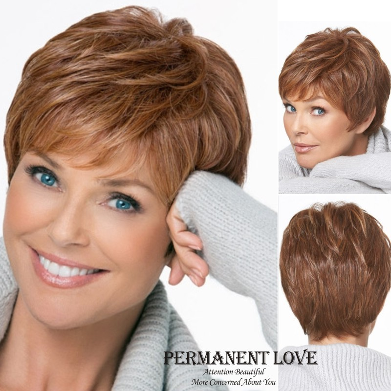 Natural straight short pixie cut hairstyle Blonde Wig side bangs ...